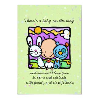Invitation. Bunny.Puppy.Hearts de baby shower de Carton D'invitation 12,7 Cm X 17,78 Cm