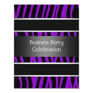 Invitation Business Party Black Purple Stripe