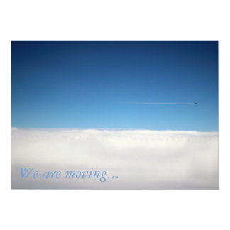 Invitation card showing a plane above the clouds
