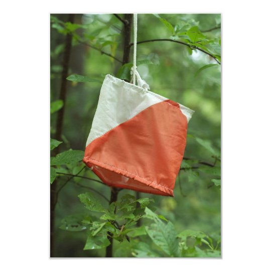 Invitation card with envelope - Orienteering flag