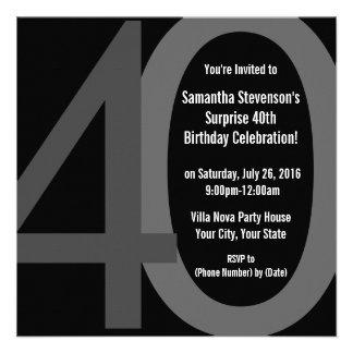 Invitation carrée noire de gris grande 40 de fête