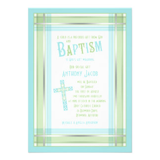 Invitation catholique de baptême de croix de plaid