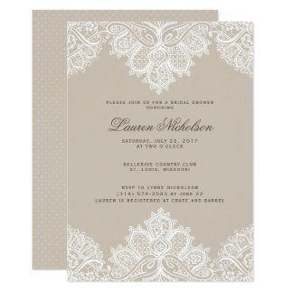 Invitation Champagne de wedding shower de dentelle