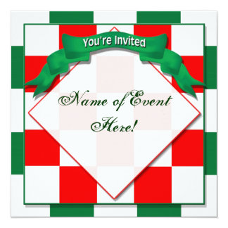 Invitation -  - Checkered Red/Green