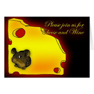Invitation Cheese and Wine Party cute little mouse