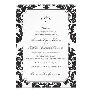 Invitation classique de mariage damassé