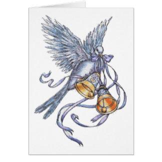 Invitation-colombe et cloches de mariage carte de vœux