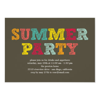 Invitation colorée de partie d'été