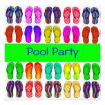 Invitation colorée de réception au bord de la pisc