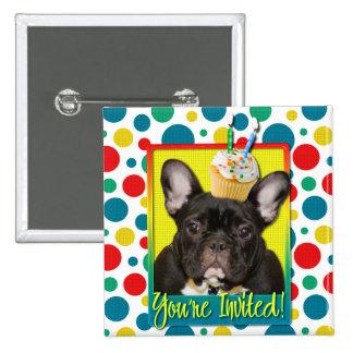 Invitation Cupcake 2 Year Old - French Bulldog 2 Inch Square Button