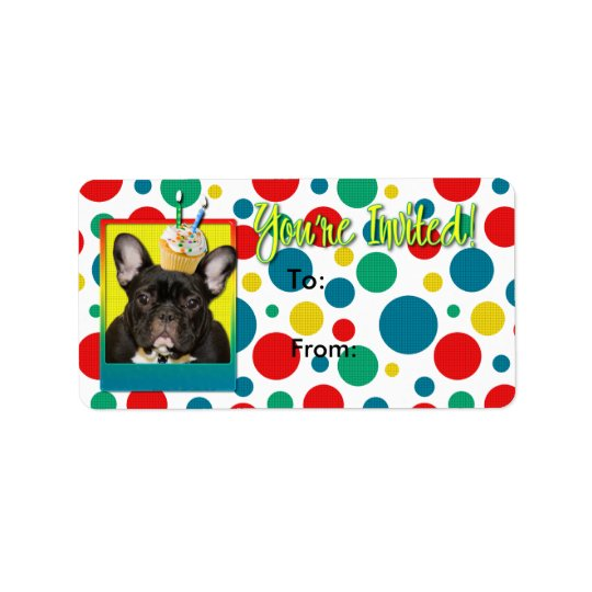 Invitation Cupcake 2 Year Old - French Bulldog Label
