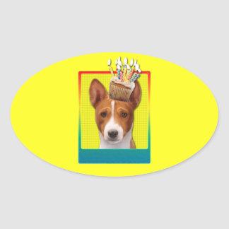 Invitation Cupcake - Basenji Oval Sticker