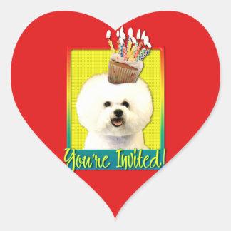 Invitation Cupcake - Bichon Frise Heart Sticker