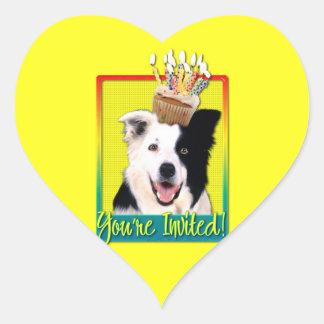 Invitation Cupcake - Border Collie Heart Sticker
