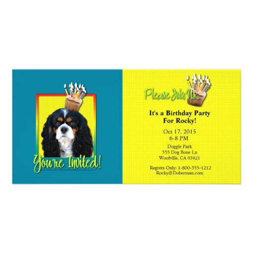 Invitation Cupcake - Cavalier - TriColor Photo Greeting Card