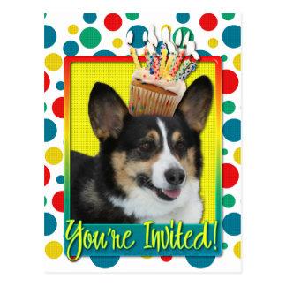 Invitation Cupcake - Corgi Postcard