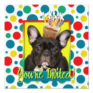 Invitation Cupcake - French Bulldog - Teal