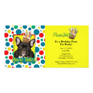Invitation Cupcake - French Bulldog - Teal Personalized Photo Card