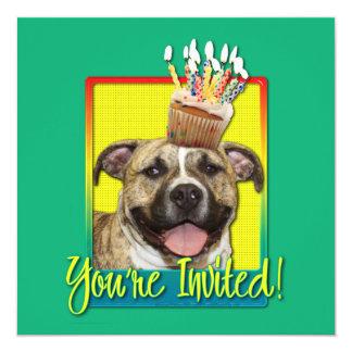 """Invitation Cupcake - Pitbull - Tigger 5.25"""" Square Invitation Card"""