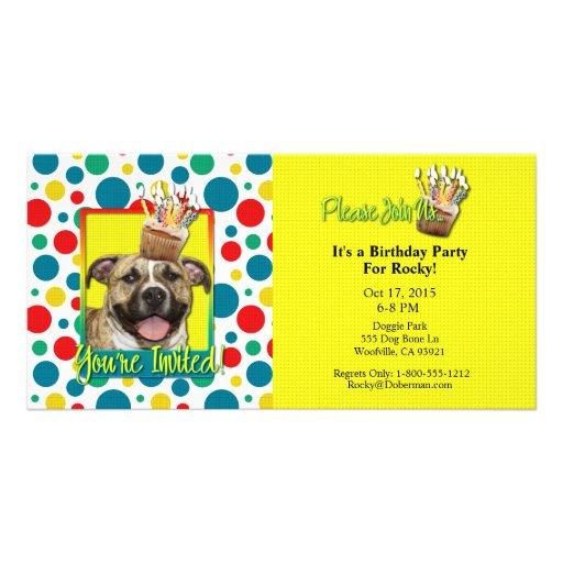 Invitation Cupcake - Pitbull - Tigger Photo Card Template