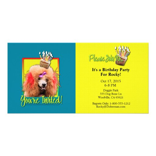 Invitation Cupcake - Poodle - Red Personalized Photo Card