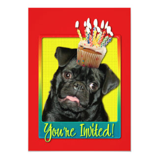 Invitation Cupcake - Pug - Ruffy