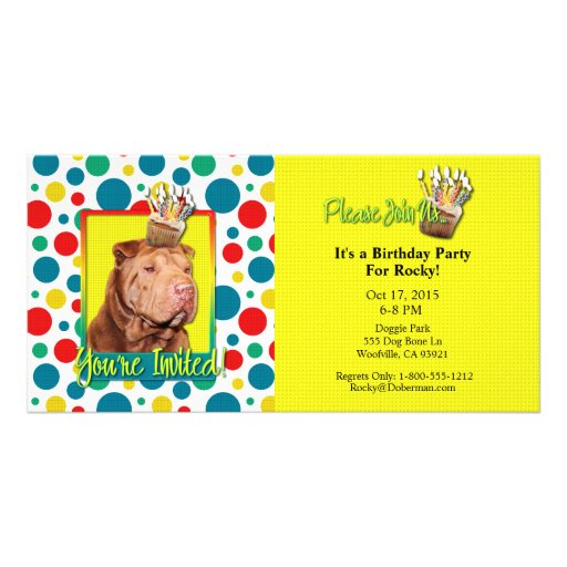 Invitation Cupcake - Shar Pei - Lucky Picture Card