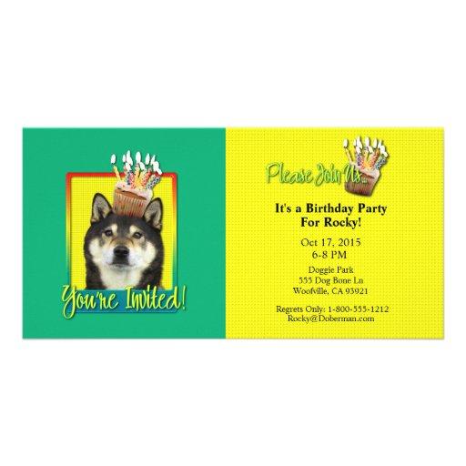 Invitation Cupcake - Shiba Inu - Yasha Photo Card