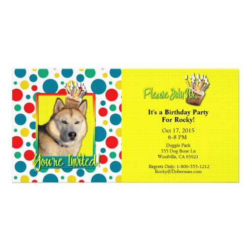 Invitation Cupcake - Siberian Husky - Copper Photo Greeting Card