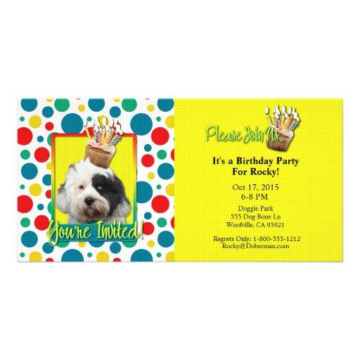Invitation Cupcake - Tibetan Terrier Photo Card Template