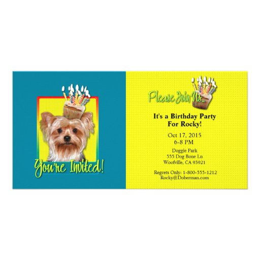 Invitation Cupcake - Yorkshire Terrier Photo Cards