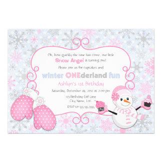 Invitation d anniversaire d One-derland d hiver fa
