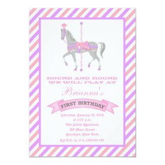 Invitation d'anniversaire de cheval de carrousel