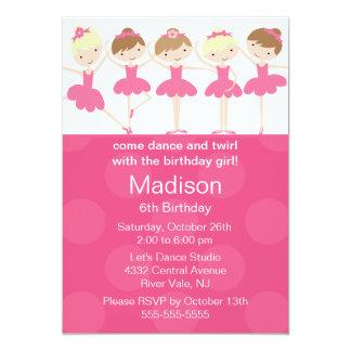 Invitation d'anniversaire de danse de ballerine
