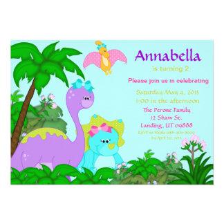 Invitation d'anniversaire de dinosaure de fille