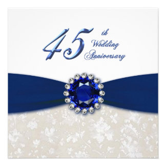 Invitation d'anniversaire de mariage de damassé qu