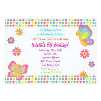 Invitation d'anniversaire de papillon carton d'invitation  12,7 cm x 17,78 cm