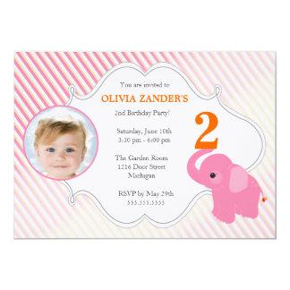 Invitation d'anniversaire de photo d'éléphant rose carton d'invitation  12,7 cm x 17,78 cm