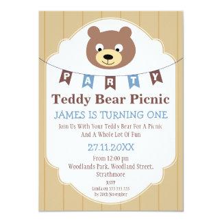 Invitation d'anniversaire de pique-nique d'ours de