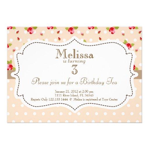 Invitation d'anniversaire de thé de jardin