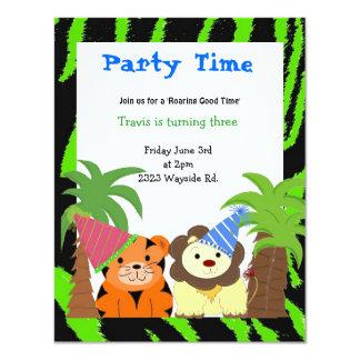 Invitation d'anniversaire de tigre et de lion