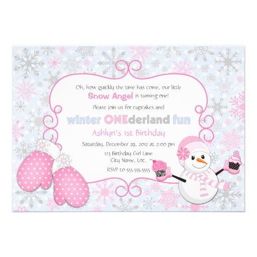 Invitation d'anniversaire d'One-derland d'hiver fa