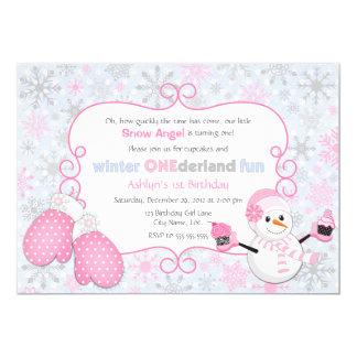 Invitation d'anniversaire d'One-derland d'hiver Carton D'invitation 12,7 Cm X 17,78 Cm