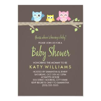 Invitation de baby shower de petits hiboux carton d'invitation  12,7 cm x 17,78 cm