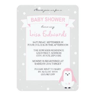 Invitation de baby shower de pingouin de roses