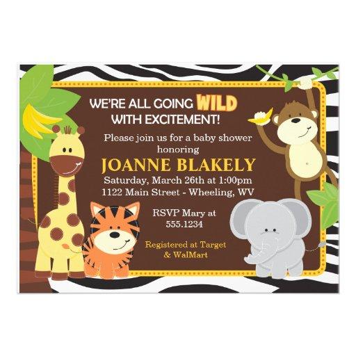 Invitation de baby shower de safari de jungle d'im