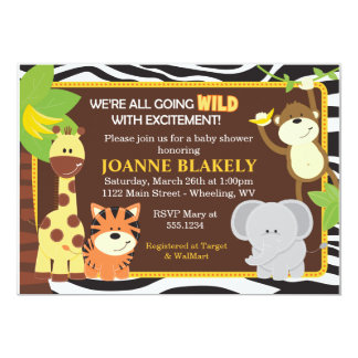 Invitation de baby shower de safari de jungle carton d'invitation  12,7 cm x 17,78 cm