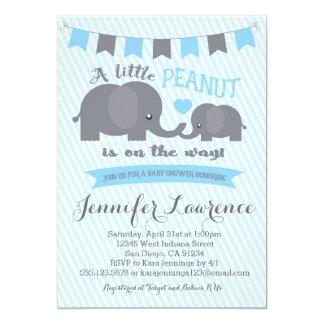 Invitation de baby shower d'éléphant d'arachide de