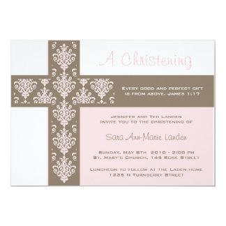 Invitation de baptême de fille carton d'invitation  12,7 cm x 17,78 cm