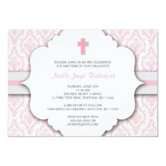 Invitation de baptême pour la damassé rose et